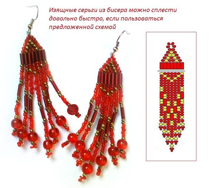 Схема серег кирпичным плетением