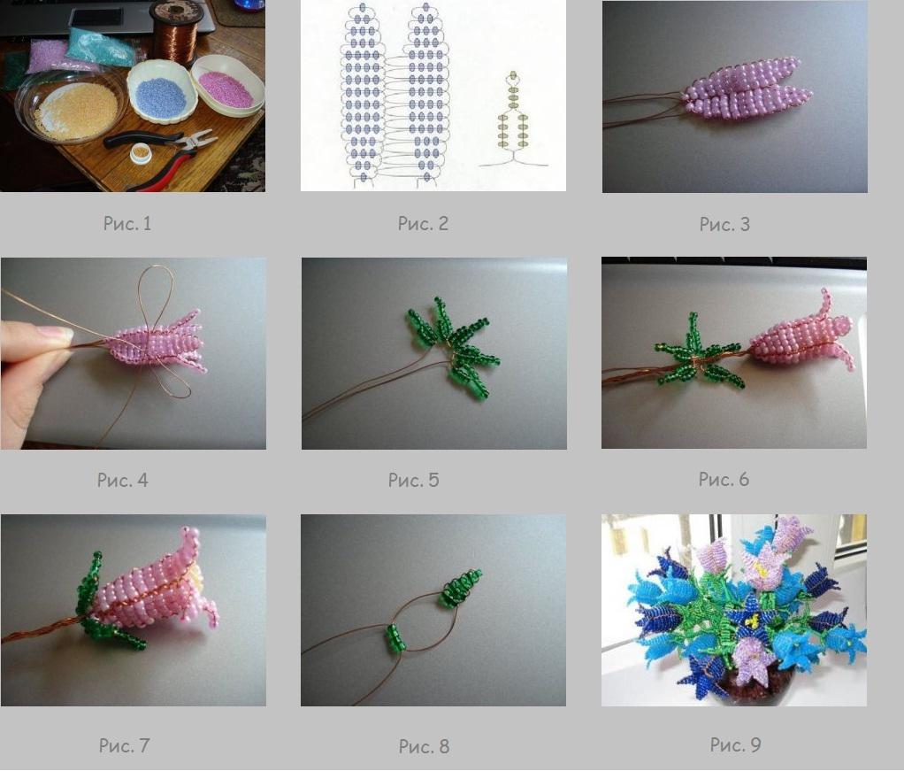 Цветы своими руками: плетем колокольчики из бисера