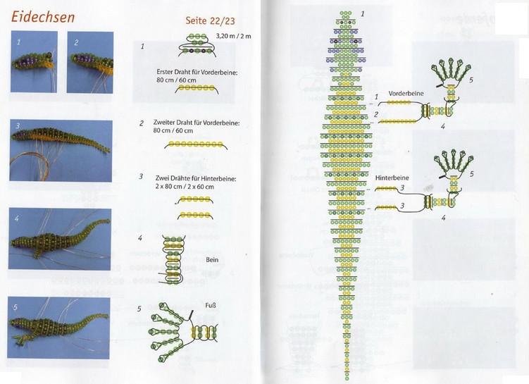 схема ящерица из бисера
