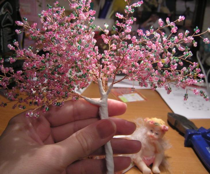 Плетение дерево сакура из бисера