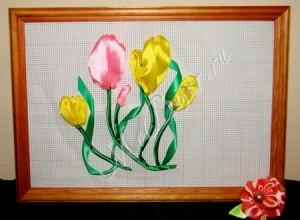 вышивка лентами тюльпанов